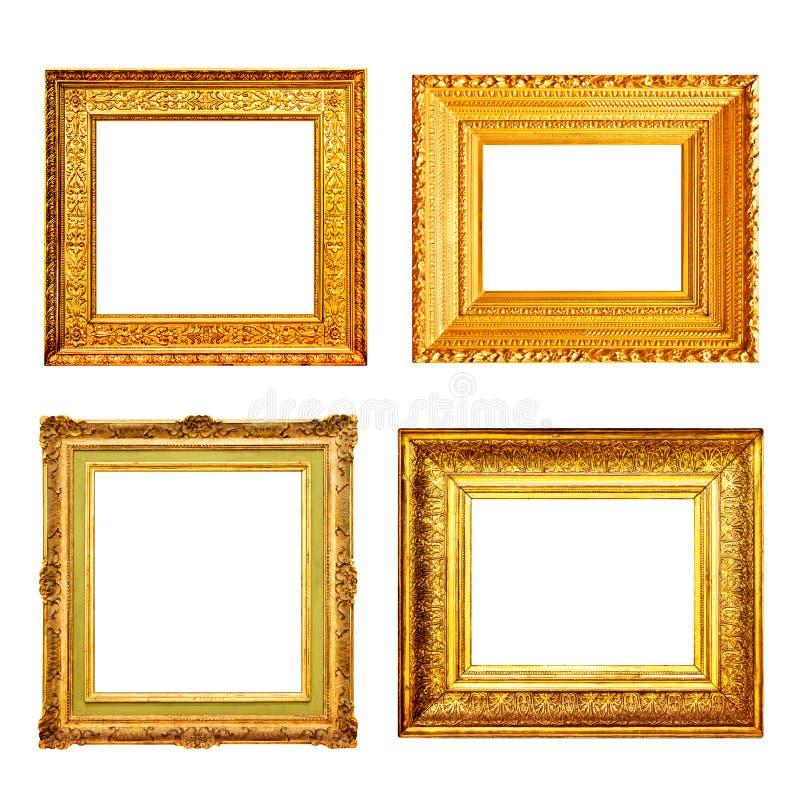 Set wiele antykwarskie złoto ramy odizolowywać na bielu obrazy royalty free