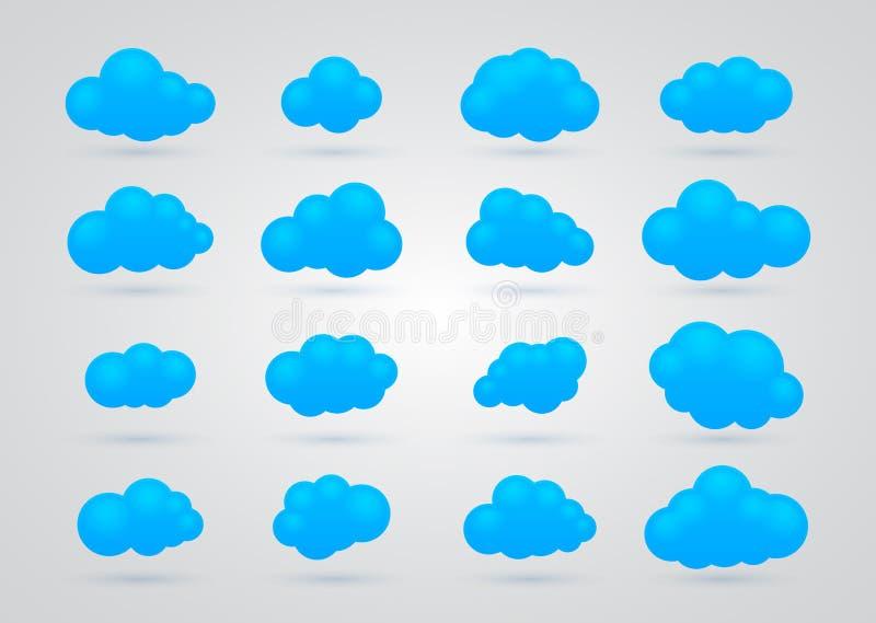 Download Set wiele Błękitne chmury ilustracji. Ilustracja złożonej z cloudscape - 28950781