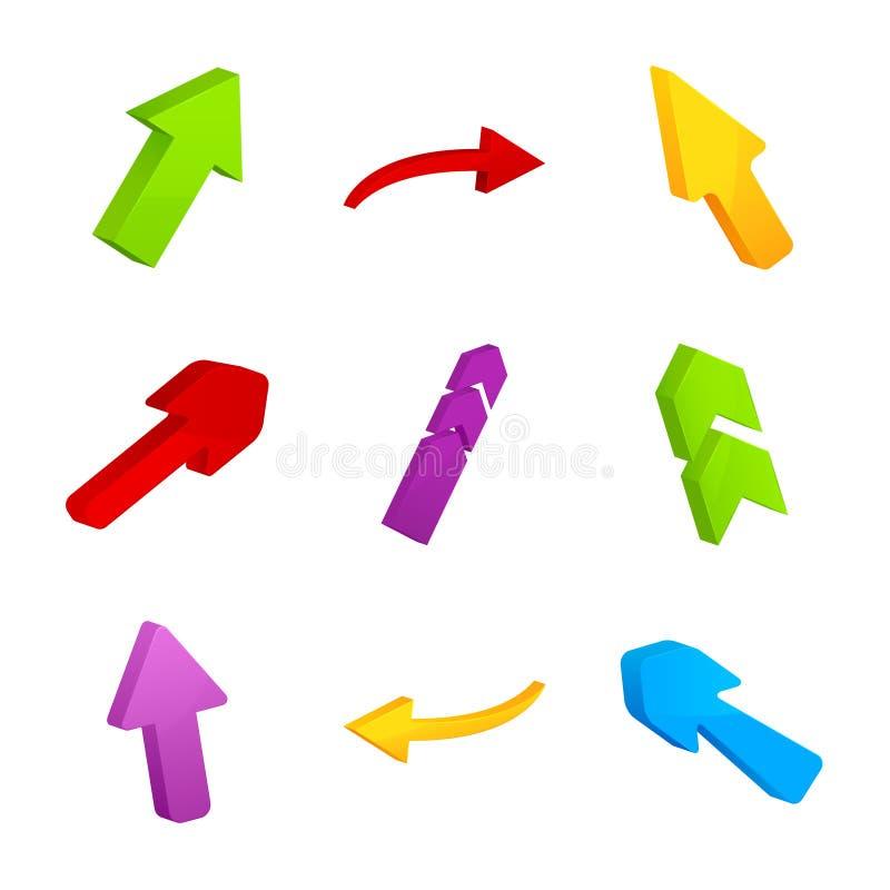 Download Set wiele kolorowe strzała ilustracji. Ilustracja złożonej z rywalizacja - 28972246