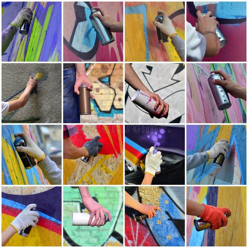 Set wiele mali wizerunki ręki z farb puszkami w proca fotografia stock