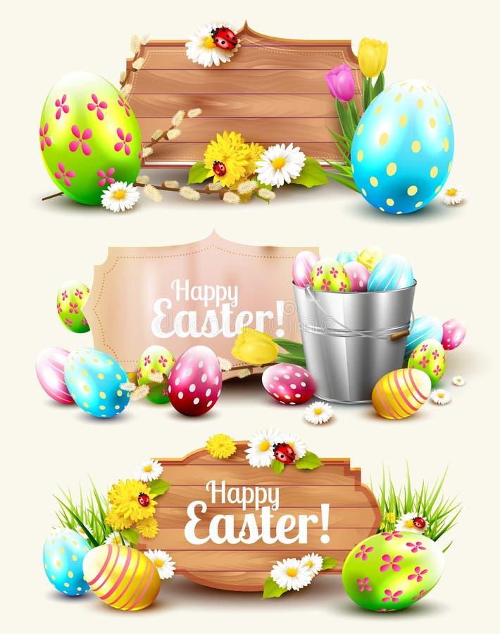 Set Wielkanocni chodnikowowie i sztandary royalty ilustracja