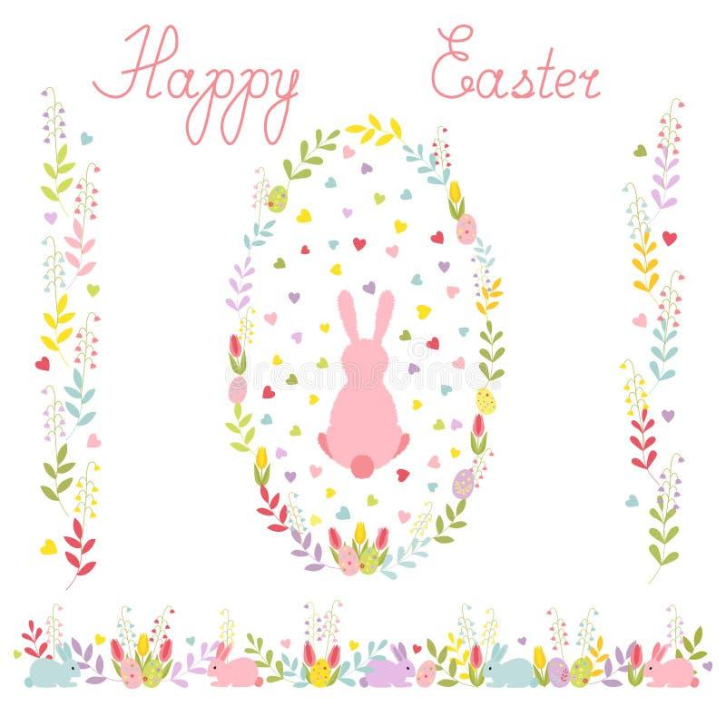 Set Wielkanocny wianek z kreskówka królikiem, horyzontalną granicą tulipany i jajkami, dwa pionowo ornamentu wektor ilustracji