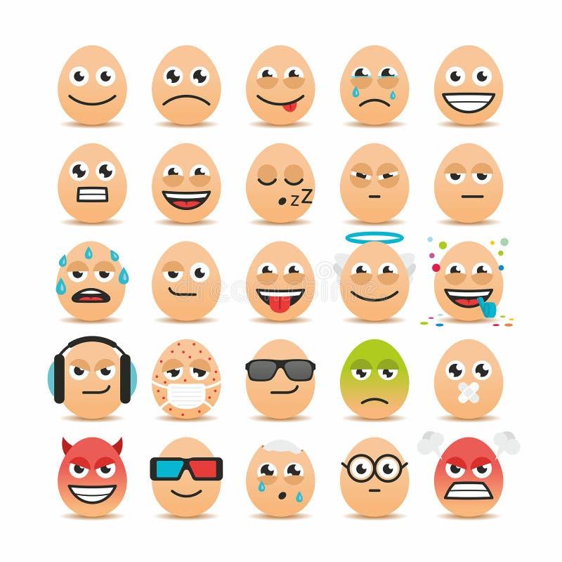 Set Wielkanocnych jajek emoticons royalty ilustracja