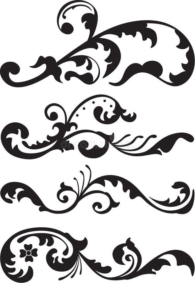 Set wiktoriański dividers linia ilustracja wektor
