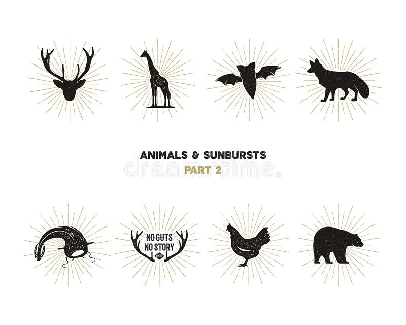 Set of wild animal figures and shapes with sunbursts isolated on white background. Black silhouettes giraffe, chicken vector illustration