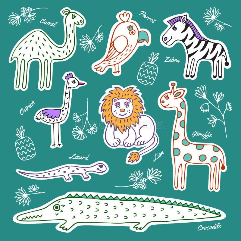 Set of wild animals and birds stock illustration