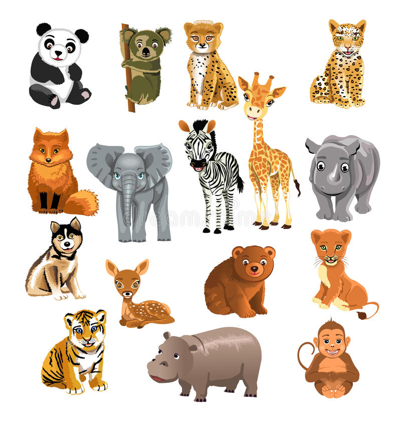 Download Set of wild animals stock vector. Illustration of cheetah - 32487044