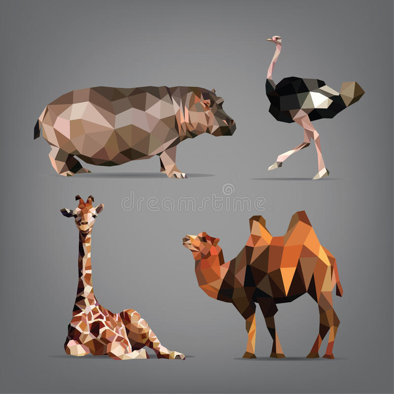 Set of wild animals in the style of origami. vector illustration vector illustration