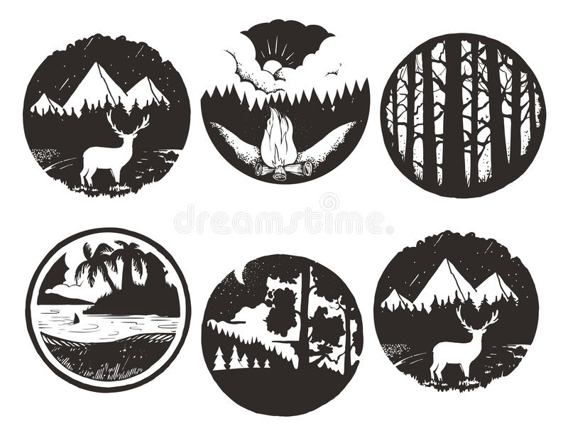 Set of wilderness hand drawn black emblems. artworks for hipster wear. vector Inspirational illustration stock illustration