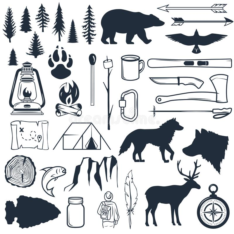 Set of wilderness silhouettes. Hand drawn camping and hiking elements. Collection for summer camp outdoors. Labels stock illustration