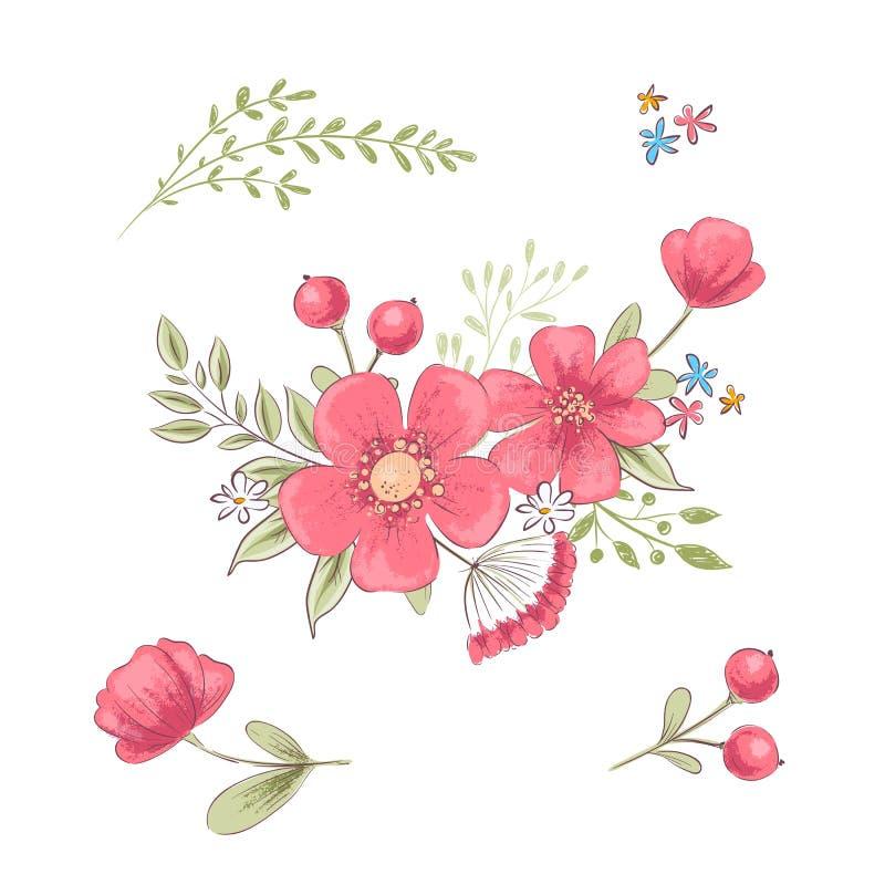 Set wildflowers i motyle rysunkowy wr?cza jej ranek bielizny jej ciep?ych kobiety potomstwa r?wnie? zwr?ci? corel ilustracji wekt ilustracja wektor