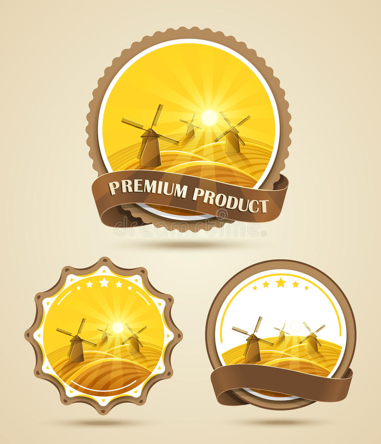 Set of windmills labels stock illustration