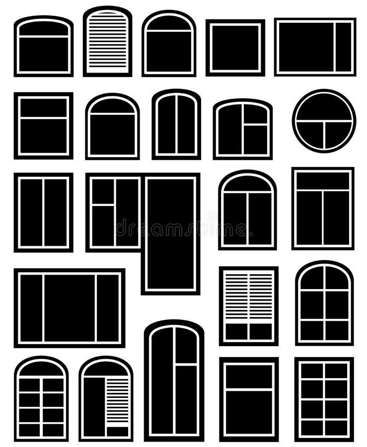 Set window silhouette royalty free illustration