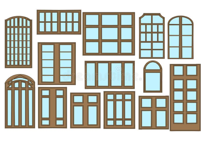 Set of window stock illustration