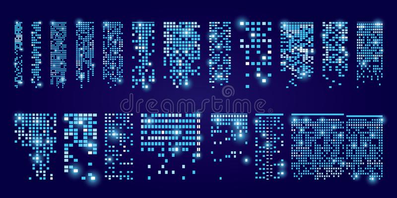 Set of windows icons with flare. Buildings and houses. City Lights. Set of windows icons with flare. Buildings and houses. City Lights royalty free illustration