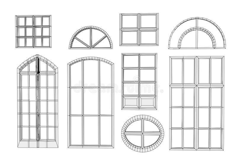 Set of windows stock illustration