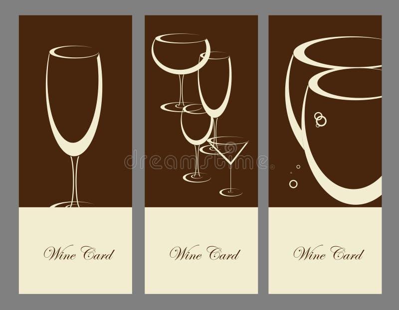 Set of wine banner alcohol drink glasses. Vector royalty free illustration