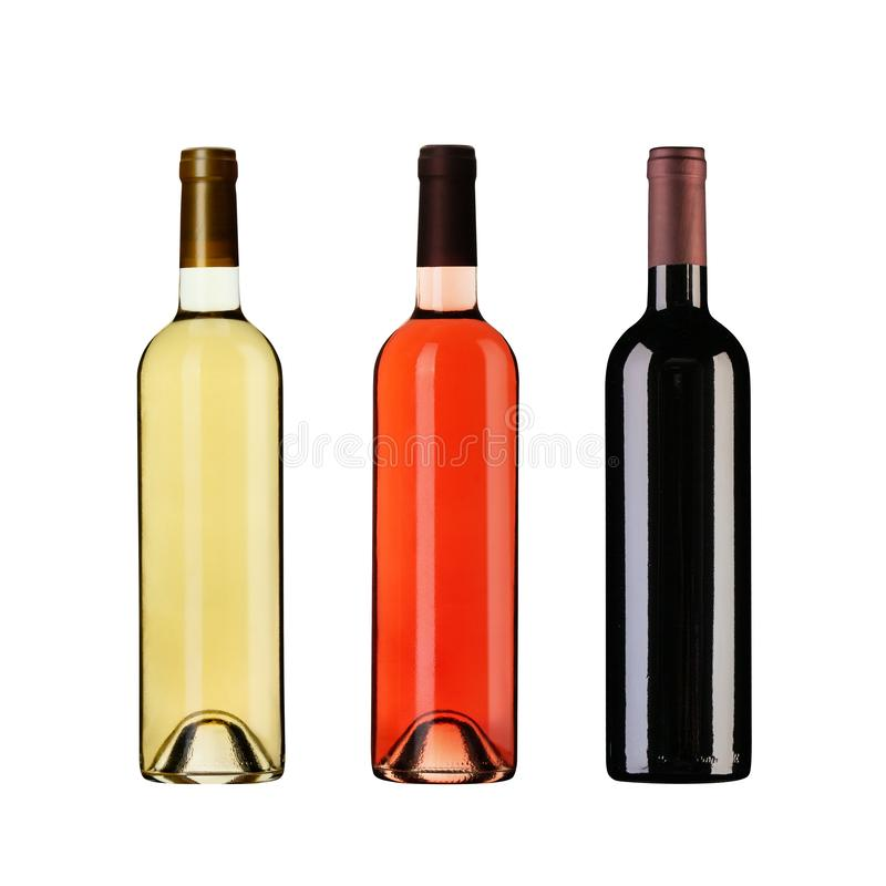 Set of wine bottles isolated on white background royalty free stock images