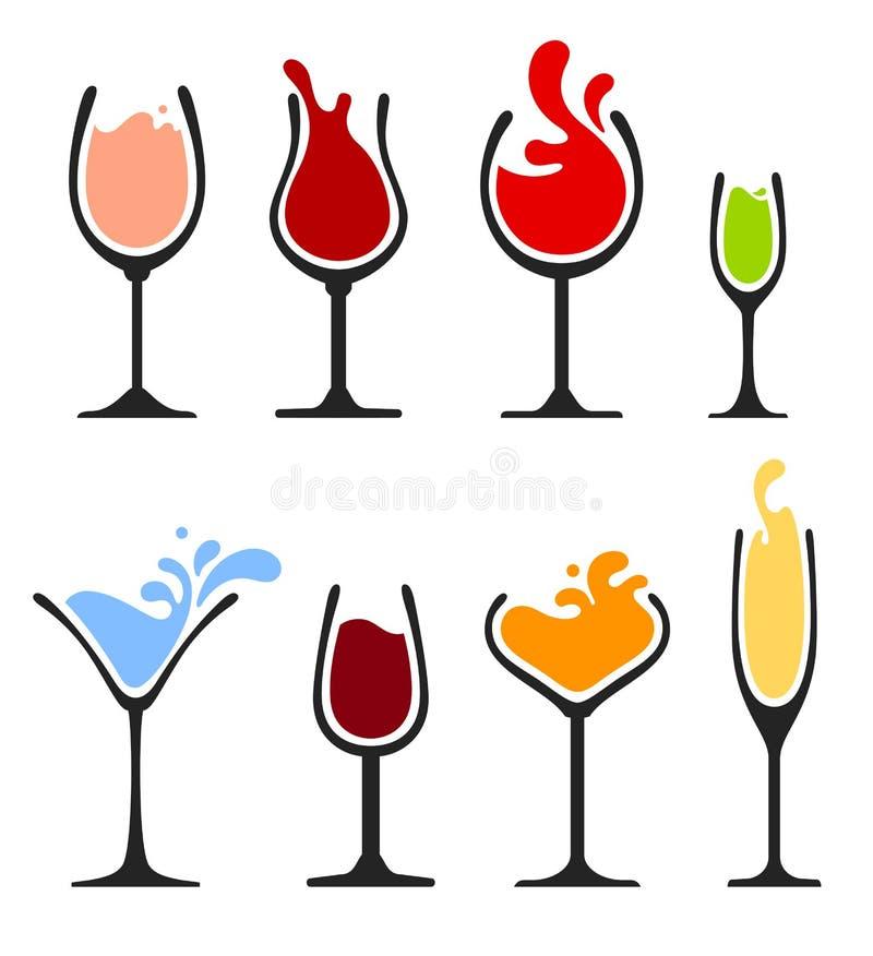 Set of wine splash glass. Set of wine, champagne, martini and cocktail glass. Splash silhouette drink vector illustration