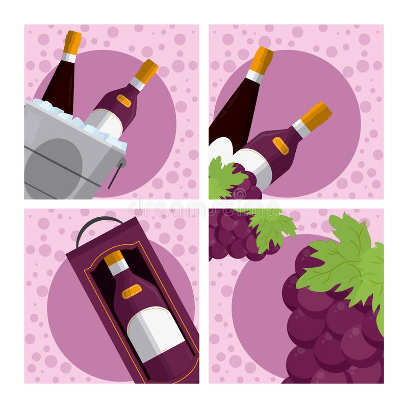 Set of wine collection. Cartoons vector illustration graphic design royalty free illustration