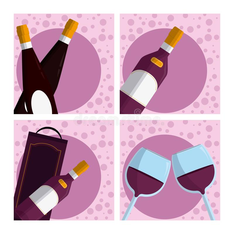 Set of wine collection. Cartoons vector illustration graphic design stock illustration