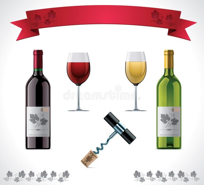 set wine för symbol royaltyfri illustrationer