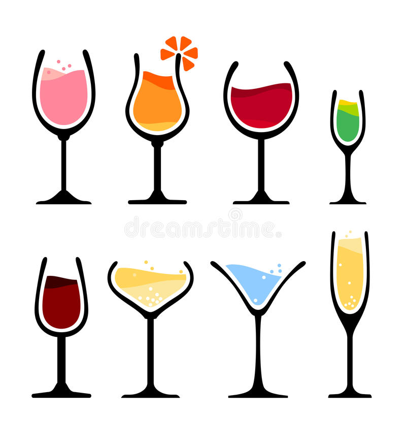 Set of wine glass. Collection of wine, champagne and cocktail glass. eps8 royalty free illustration