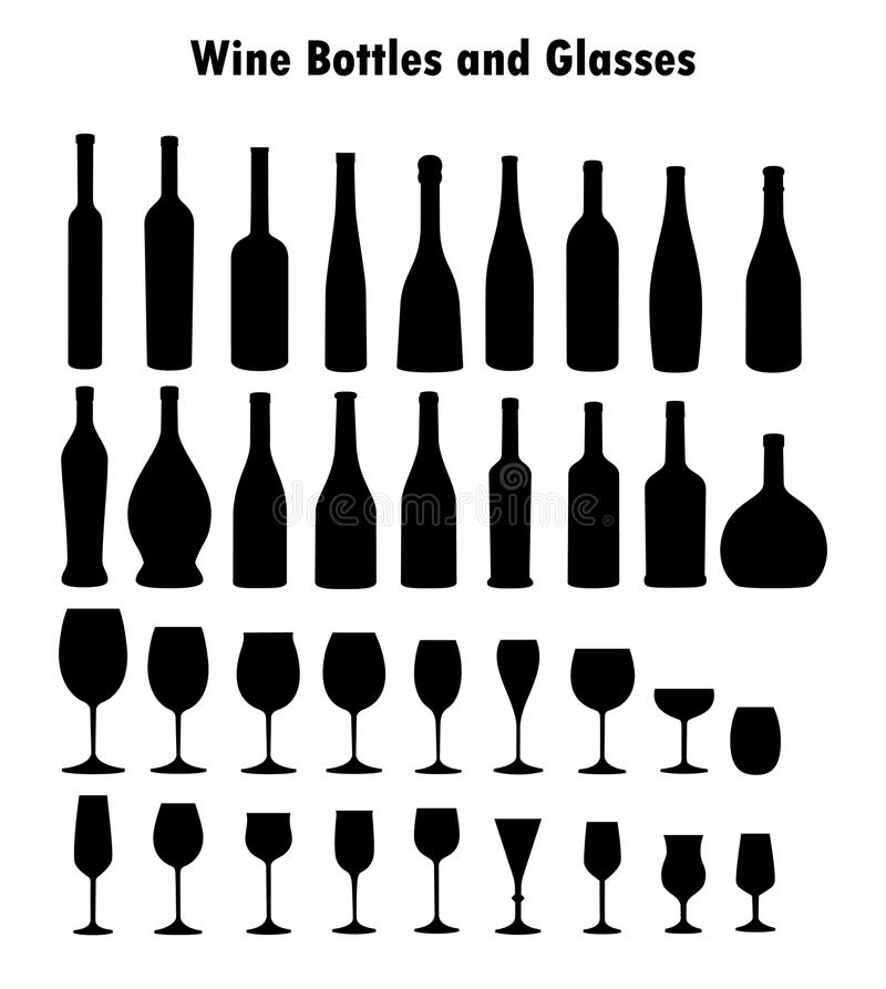 Set of wine glasses and bottles stock image