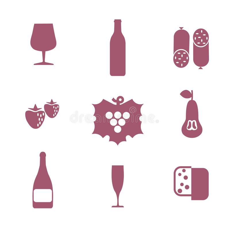 Set of wine icons. It includes such characters as a bottle of wine, champagne, glasses, sausages, cheese, fruit. Liquor store concept. Can be used for web royalty free illustration