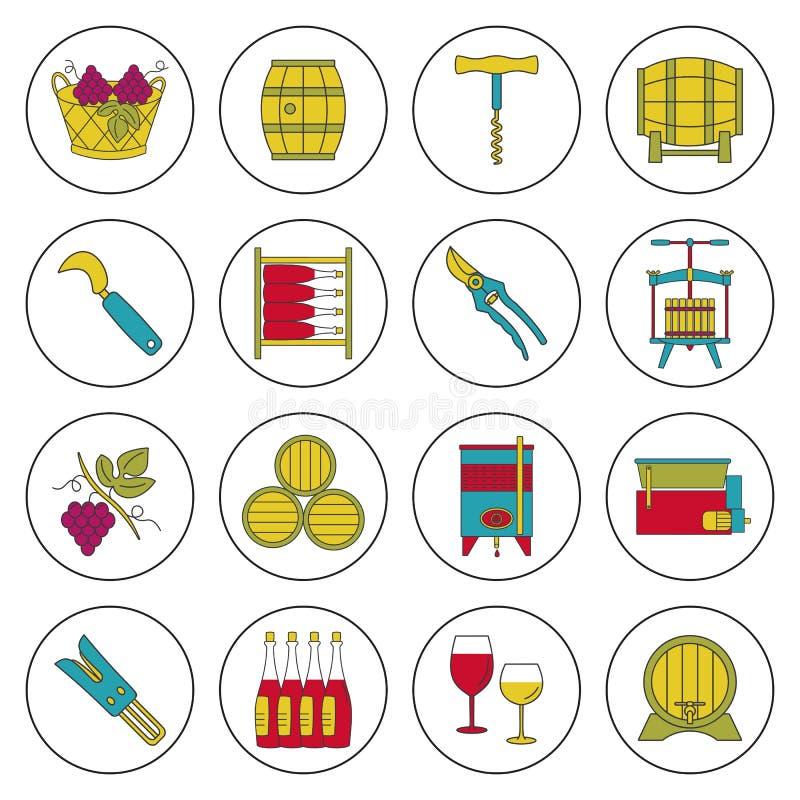 Set winemaking, wino degustaci ikony royalty ilustracja