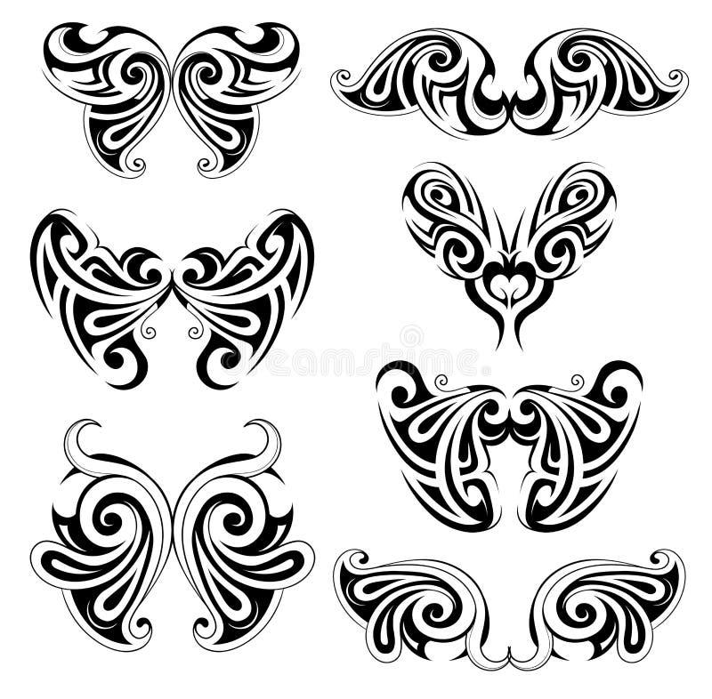 Set of wing shapes royalty free illustration