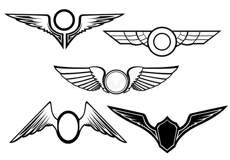 Download Set of wing symbols stock vector. Illustration of insignia - 14358975