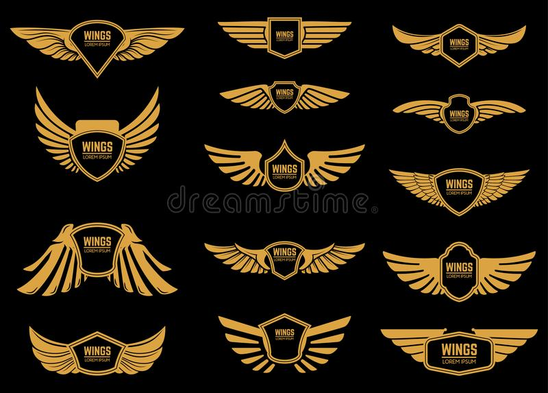 Set of wings icons in golden style. Design elements for logo, label, emblem, sign. royalty free illustration