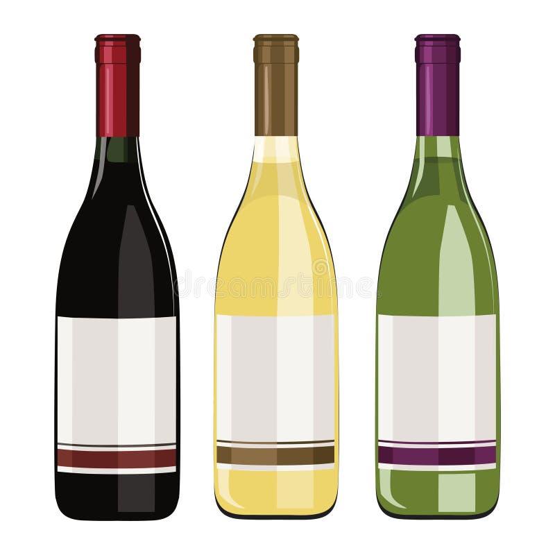 Set wino butelki odizolowywać na białym tle ilustracja wektor