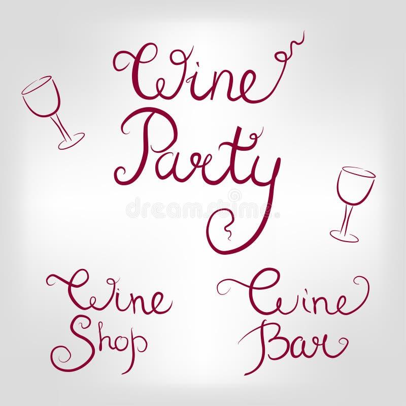 Set wino logowie royalty ilustracja