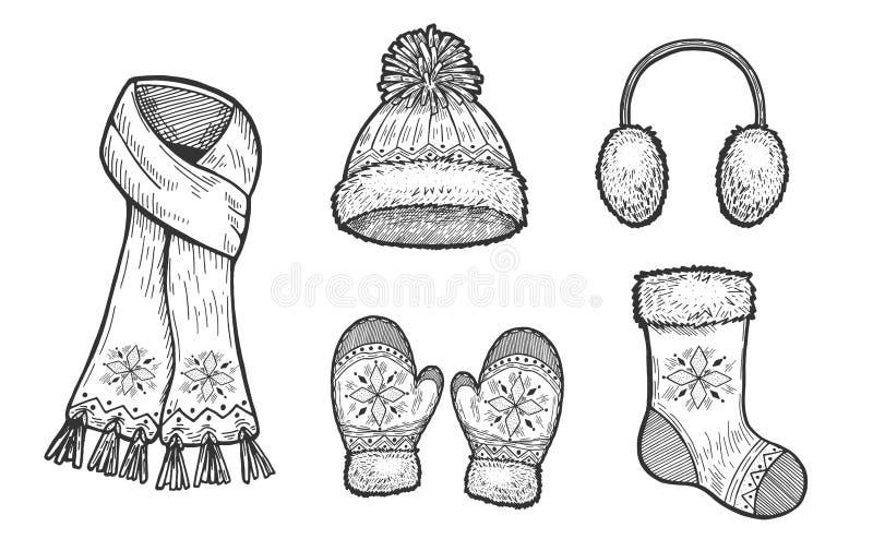 Set of winter accessories stock illustration