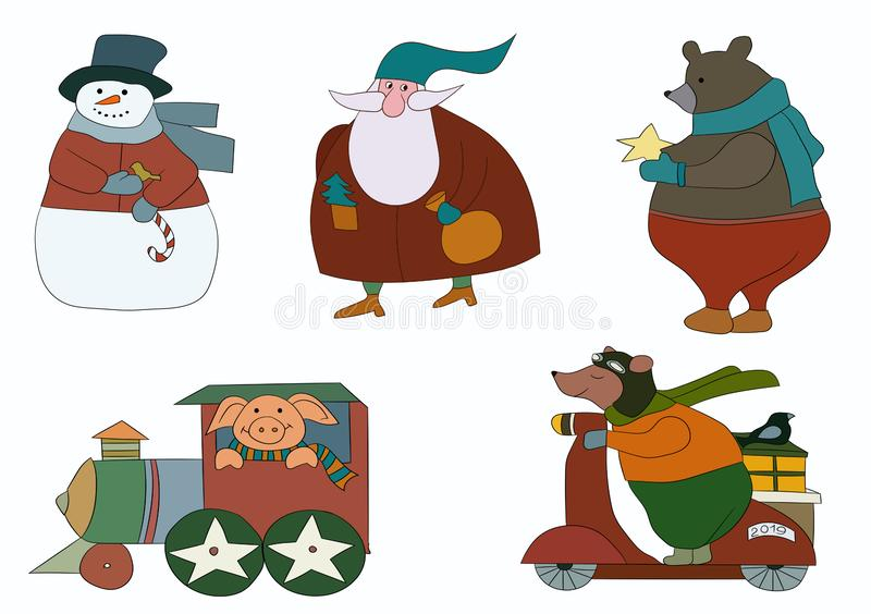 A set of winter characters for the 2019 new year. The set includes a pig in the train, Santa Claus, bears and a snowman. New Year`s clipart vector illustration