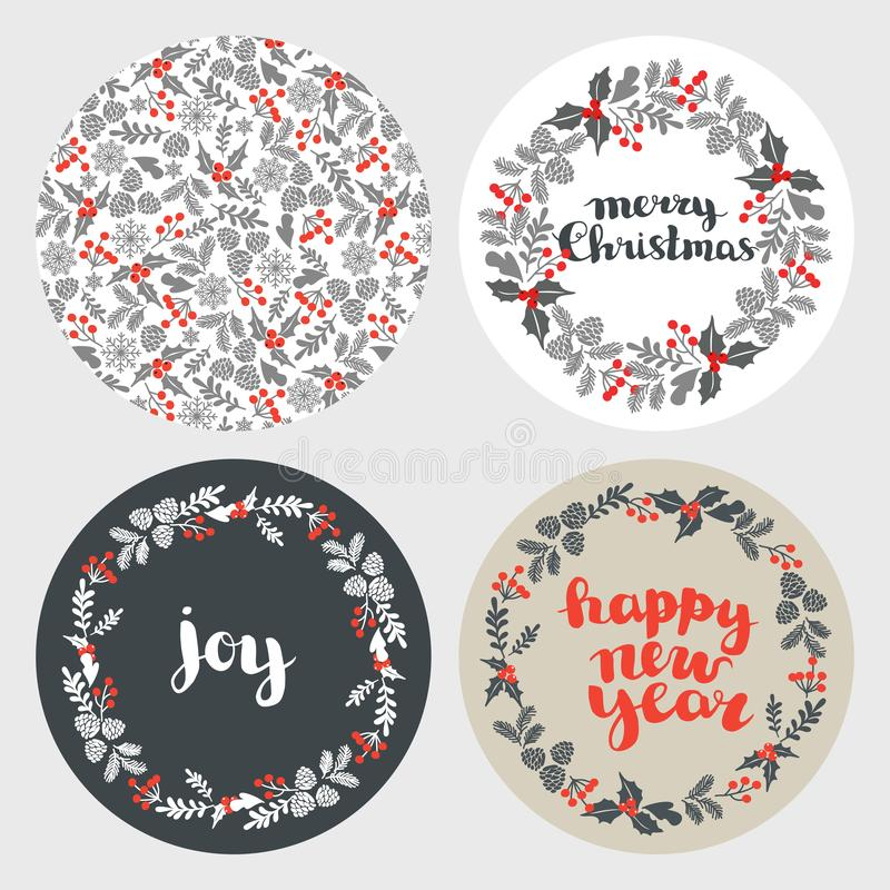 Set of Winter Christmas card, elements and illustrations. set of round backgrounds for New Year cards.  stock illustration