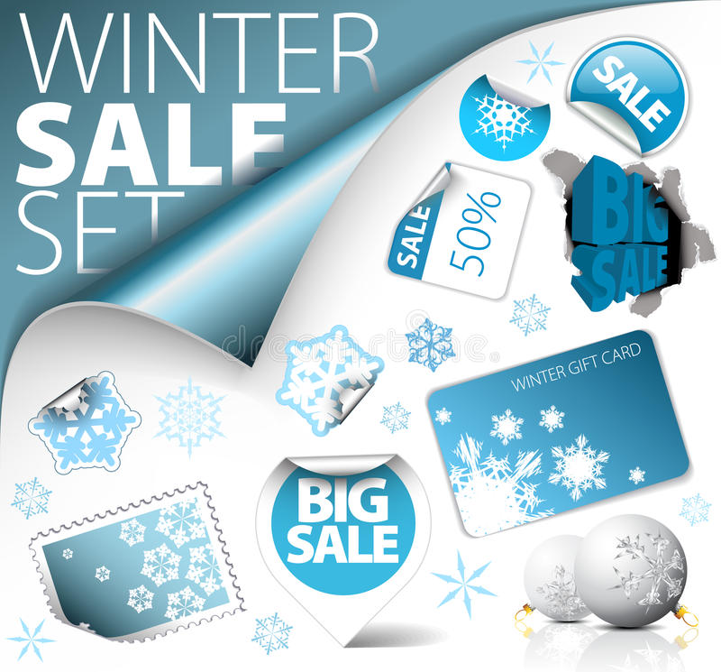 Download Set Of Winter Discount Elements Stock Illustration - Image: 16346988