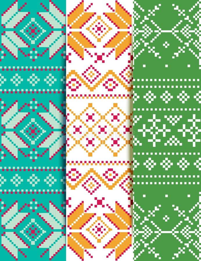 Set winter embroidery pattern stock illustration