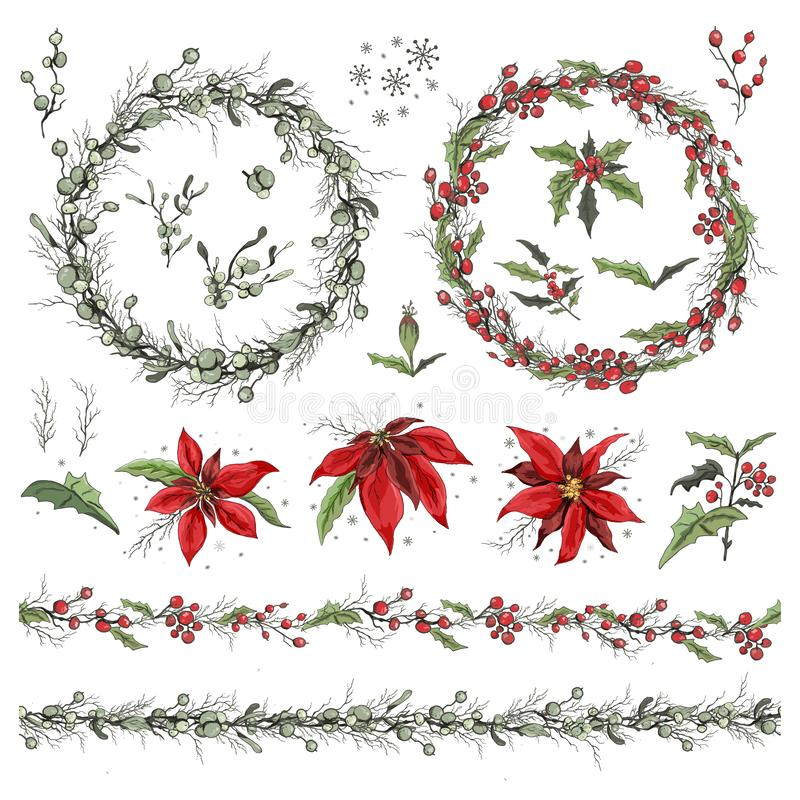 Set of winter flowers, branches and leaves. hand-drawn Botanical doodling in a realistic style. seamless garland with seasonal ele royalty free stock photography