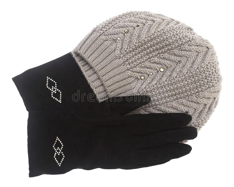Download Set Of Winter Hat And Gloves Isolated On White Background Stock Image - Image: 29038159