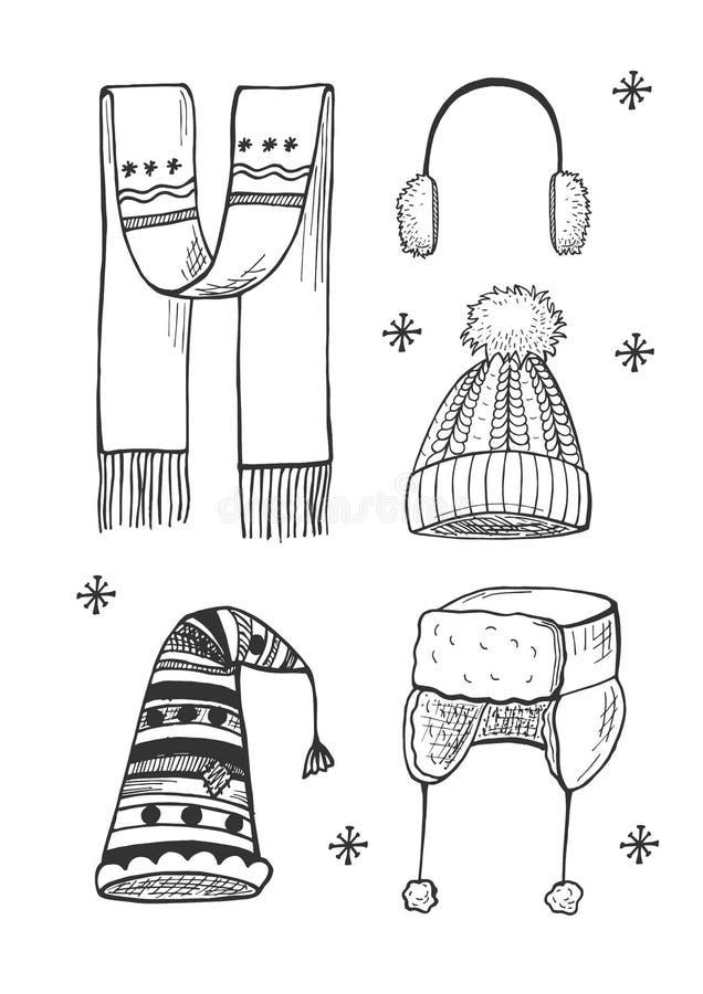 Set of winter hats royalty free illustration