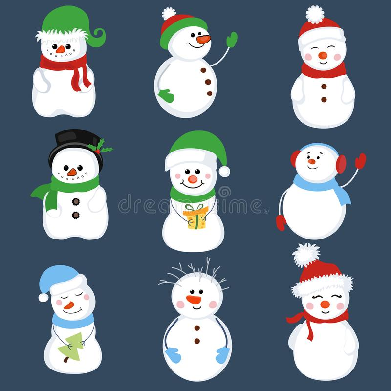 Set of winter holidays snowman. royalty free illustration