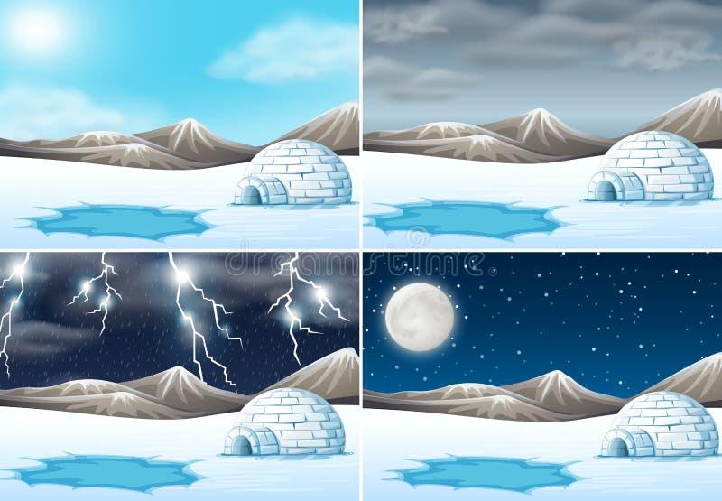 Set of winter landscape different weather. Illustration royalty free illustration