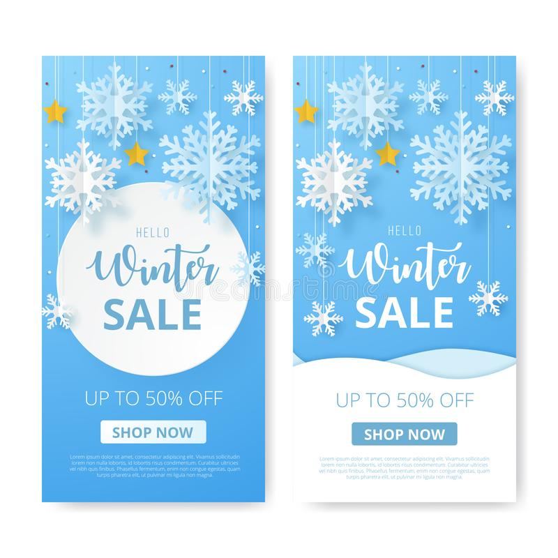 Set of Winter sale banner. Origami snowfall. Vector Illustration royalty free illustration