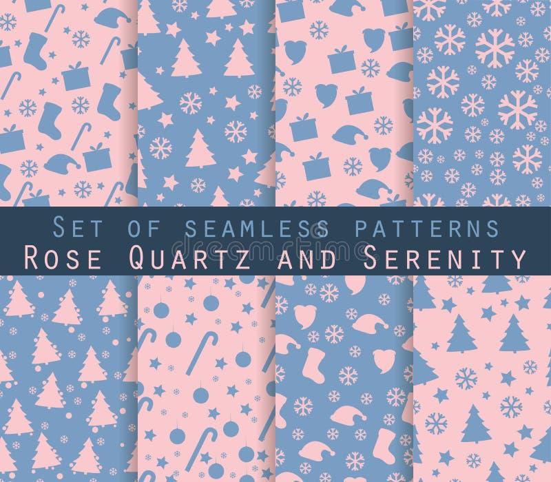 Set of winter seamless patterns. Rose quartz and serenity violet. Colors. Vector stock illustration