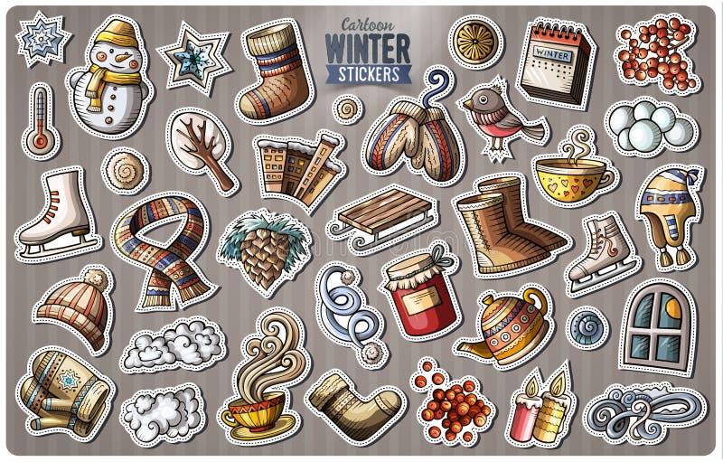 Set of Winter season cartoon stickers vector illustration