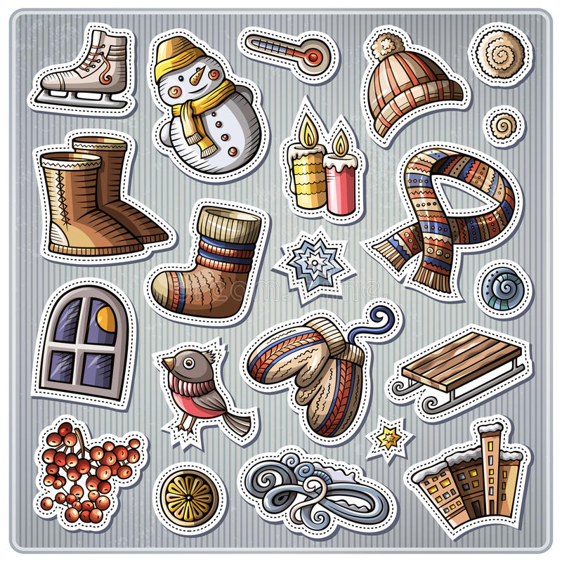 Set of Winter season cartoon stickers stock illustration