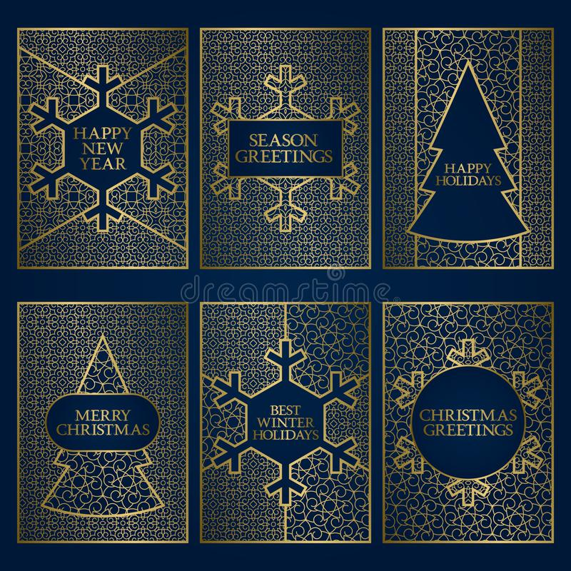 Set of winter season greeting cards templates. Golden frames design for New Year and Merry Christmas.  vector illustration